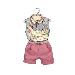 Other - Girls Shirt+Shorts+Belt 3pcs Clothing Sets
